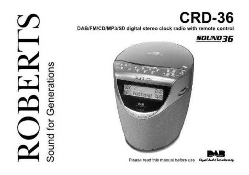 Roberts SOUND 36 DAB Radio Operating Instruction Guide by download Mauritron #306689