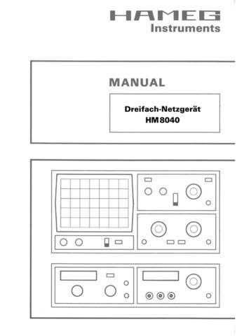 Hameg HM8040 d e f s Operating Guide by download Mauritron #307267
