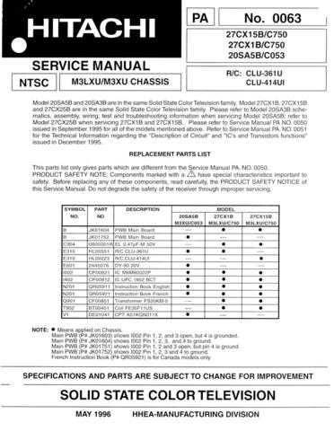 Hitachi 20SA5B-C053-2 Service Manual by download Mauritron #287616