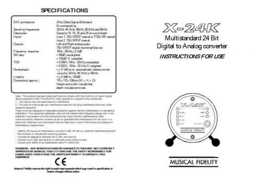 Musical Fidelity XA2 Operating Guide by download Mauritron #326935