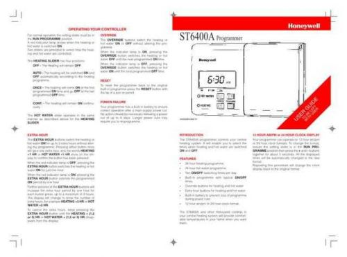 Honeywell ST6400A Timer User Instructions by download Mauritron #306645
