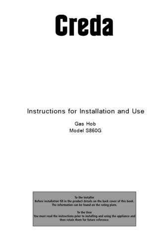 Creda S860GX Operating Guide by download Mauritron #313013