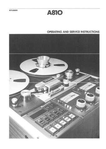 Studer A80VU_MkII-IV_A80MR Operating Guide Service Manual 9 by download Mauritron #31