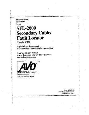 AVO SFL-2000 Operating Guide by download Mauritron #309212