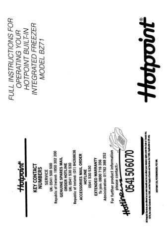 Hotpoint BZ71 Refrigeration Operating Guide by download Mauritron #313538