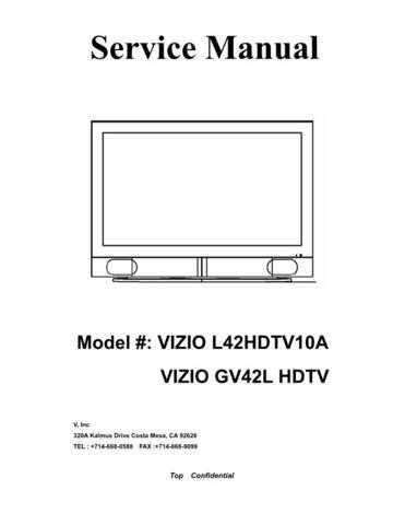 Vizio L42HDTV10A Television Service Manual by download Mauritron #322301