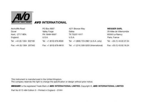AVO BMM-500 Series Operating Guide by download Mauritron #308983