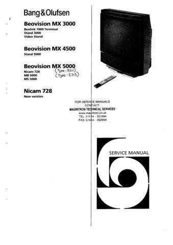 B&O. BEOVISION MX5000 TYPE 3213. SERVICE MANUAL by download Mauritron #306858