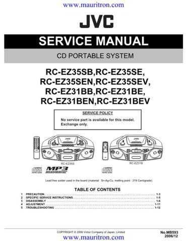 JVC MB-593 Music System Service Manual by download Mauritron #314947