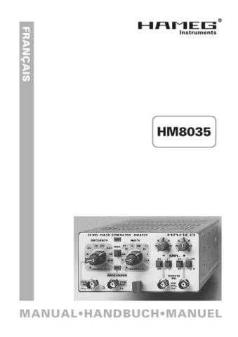 Hameg HM8032_ Operating Guide in French by download Mauritron #309879