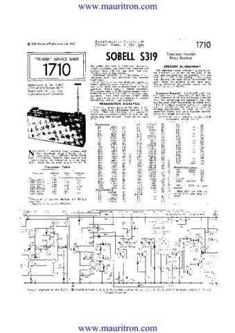 SOBELL S319 Vintage Service Sheets by download Mauritron #315810