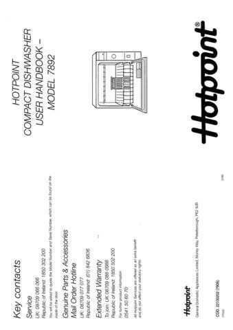 Hotpoint 7892 Dishwasher Operating Guide by download Mauritron #313340