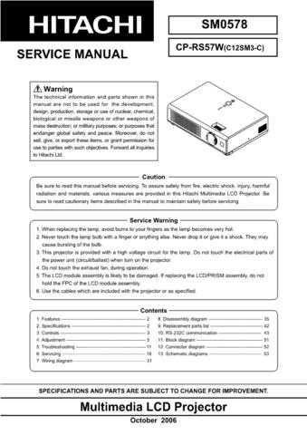 Hitachi CP2122R Service Manual by download Mauritron #289083