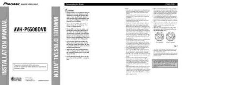 JVC 2038105Installation Manual AVH-P6500DVD 20037161810413970 Service Manual by downl