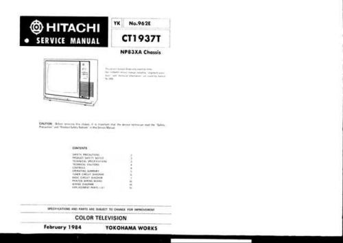 Hitachi CT2550-1 Service Manual by download Mauritron #289564
