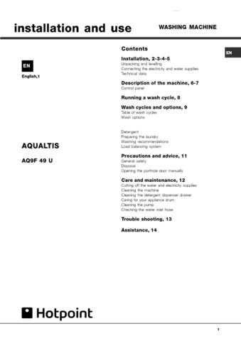 Hotpoint AQ9F49UUKV-19507512802 UK Laundry Operating Guide by download Mauritron #313