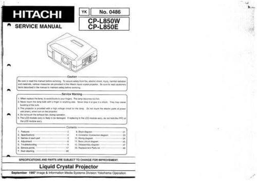 Hitachi YK-0486 Service Manual by download Mauritron #287532