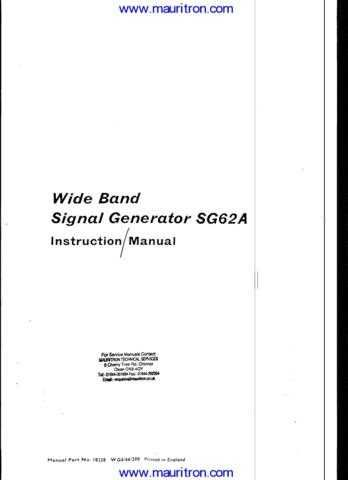 Advance SG62A Manual by download Mauritron #306713