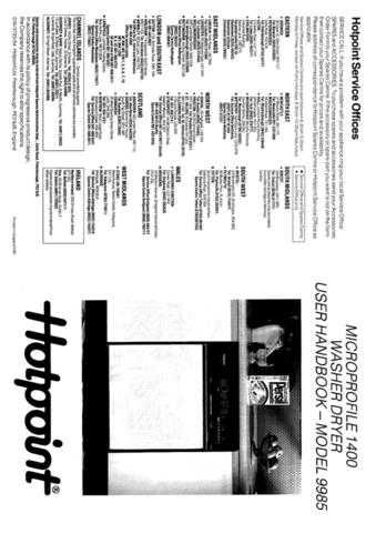 Hotpoint 9985 Washer Operating Guide by download Mauritron #307462