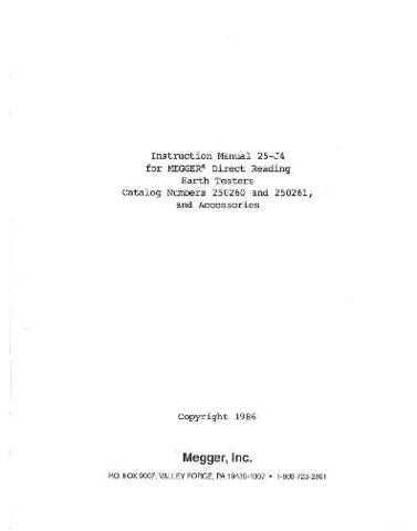 Megger 250302 Operating Guide by download Mauritron #310056