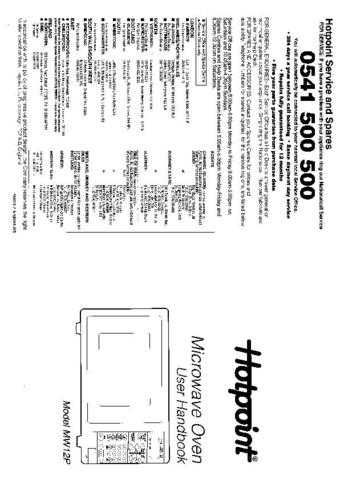 Hotpoint MW12P Microwave Oven Operating Guide by download Mauritron #309941