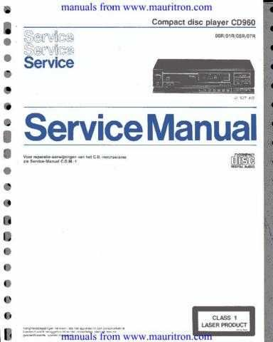 Marantz Philips CD960 Service Manual in Dutch by download Mauritron #306122
