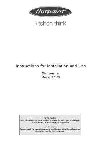 Hotpoint BCI450 Dishwasher Operating Guide by download Mauritron #313483