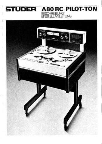 Studer A80RC_MkII_Service Manual_Update by download Mauritron #313195