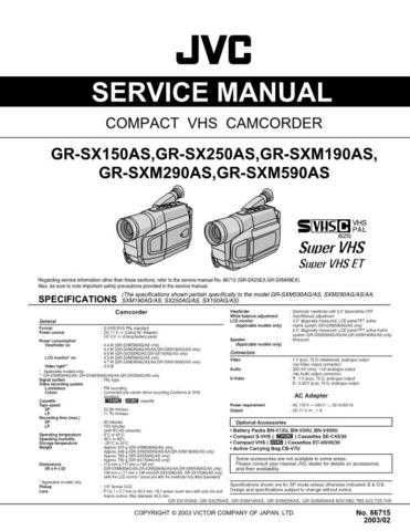 JVC GR-SX150AS_GR-SX250AS_GR-SXM190AS_GR-SXM290AS_GR-SXM590AS Service Manual by downl