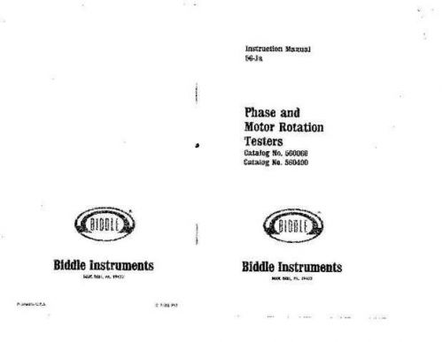 Biddle 560060 Operating Guide by download Mauritron #309369