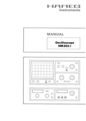 Hameg HM203-7 Operating Guide by download Mauritron #307160