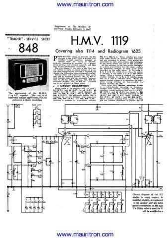 HMV 1119 Service Manual by download Mauritron #312318