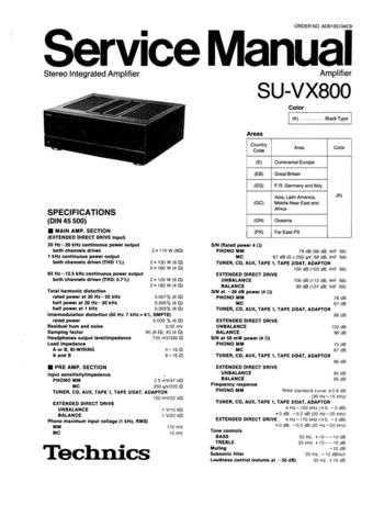 Panasonic SU-V85A Manual by download Mauritron #301748