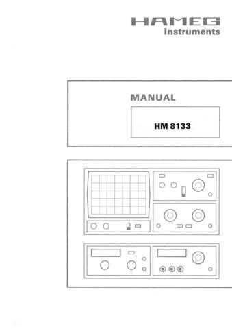 Hameg HM8133 D GB F Operating Guide by download Mauritron #307288