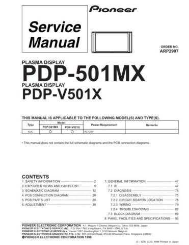 Pioneer PDP-5070PU Service Manual by download Mauritron #323695