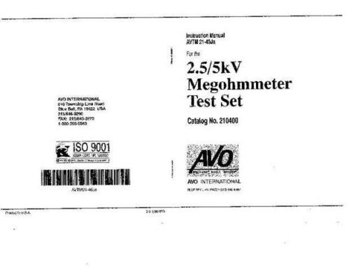 Megger AVTM21-40Ja a Operating Guide by download Mauritron #310135