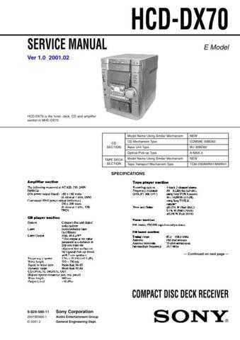 Sony HDC-DX70 Service Manual by download Mauritron #306552