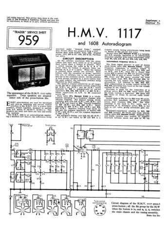 HMV. 1117. VINTAGE WIRELESS. SERVICE SHEETS. Manual by download Mauritron #312323