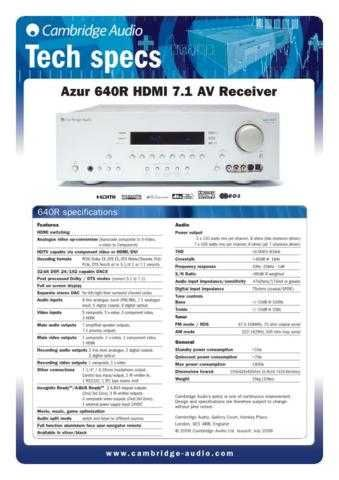 Cambridge AudioAzur640RHDMIAVreceivertechspecs by download Mauritron #311845
