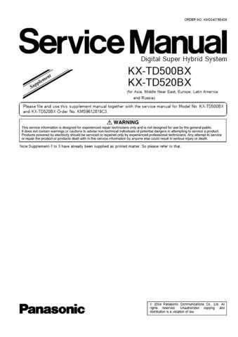Panasonic TD500BXSUP11 Manual by download Mauritron #302166