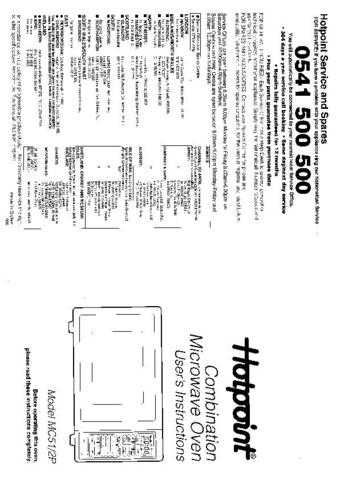 Hotpoint MC51 Microwave Oven Operating Guide by download Mauritron #309934