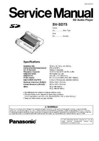 Sharp SV-SD75 Manual by download Mauritron #298589