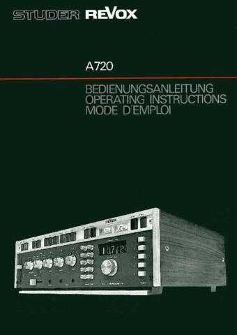 Revox A720 Operating Guide by download Mauritron #312188