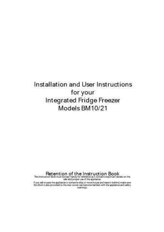 Hotpoint BM10 Refrigeration Operating Guide by download Mauritron #313529
