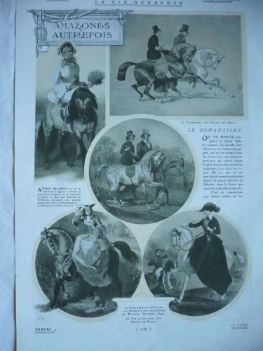 Horse Side Saddle Women Riders 1909 original french print