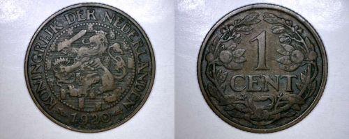 1920 Netherlands 1 Cent World Coin