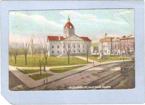 New York Binghamton Court House Square Street Scene Intersection w/Trolley~589