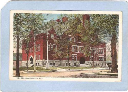 New York Norwich High School Tree Lined Street Scene w/Horse & Wagon ny_bo~1129