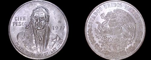 1977 Mexican 100 Peso World Silver Coin - Mexico Morelos - Low 7s