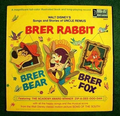 BRER RABBIT ~ BRER BEAR ~ BRER FOX Disney's Uncle Remus / Disneyland Book & LP